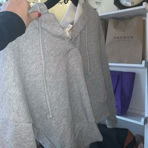 gray button up hoodie